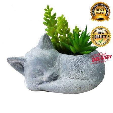 ไม้อวบน้ำในกระถางรูปแมว SPRING 01 แต่งบ้าน ดอกไม้ปลอม ดอกไม้พลาสติก สวยงาม ราคาถูก