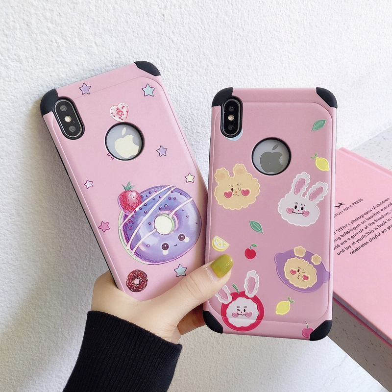 Lovely Rabbit Shockproof Case iPhone 6 6S 7 8 Plus iPhone X XS Max XR Emboss Hard Plastic
