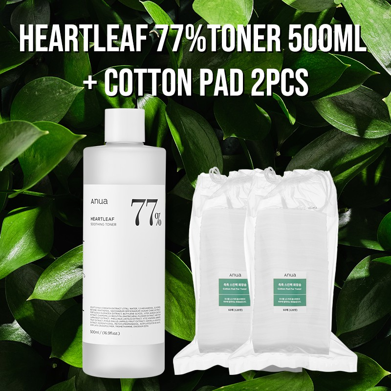 [ANUA] Heartleaf 77% Soothing Toner 500ml /  Cotton Pad for Toner 60pads 2set