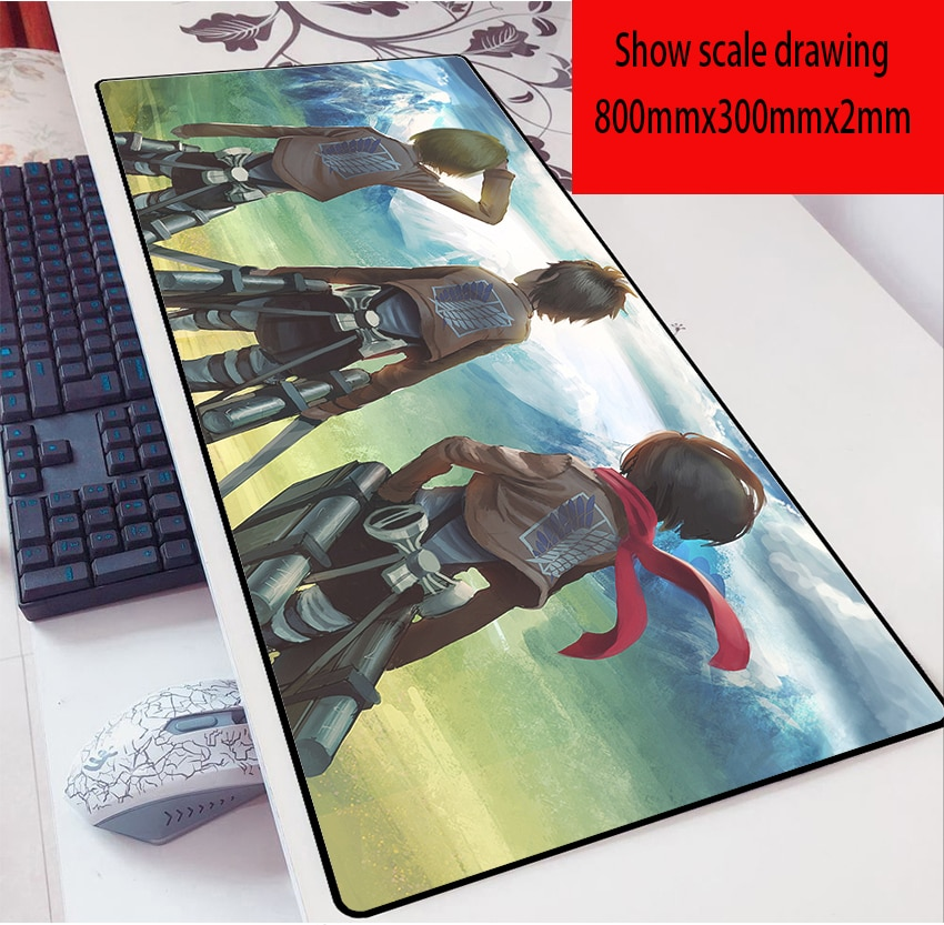 Anime Attack on Titan Figure Mouse ad  80X30 Mousead 2mm Allen Game Oversized Cartoon Table Mat Keyboard ad for Birthday