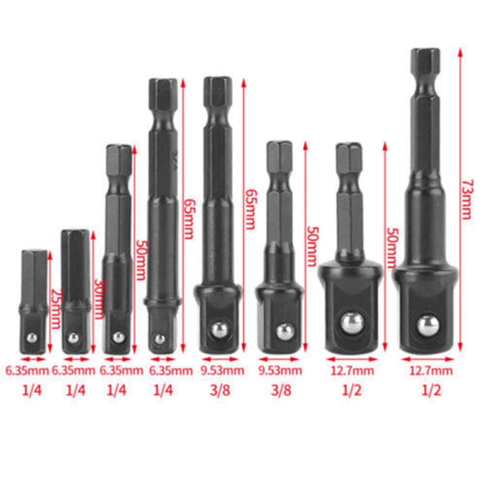 Impact Drill Bit Socket Adapter Converter Set 6-13mm Muti-colors 8Pcs 65mm long