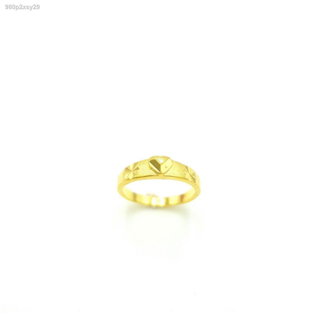 【ลดราคา】✢แหวนทอง 1 สลึงรูปแกะลายประดับเพชรชุบทอง 24K ผลิตจากช่างเย้าราชแถมตลับทองสินค้าพร้อมส่ง