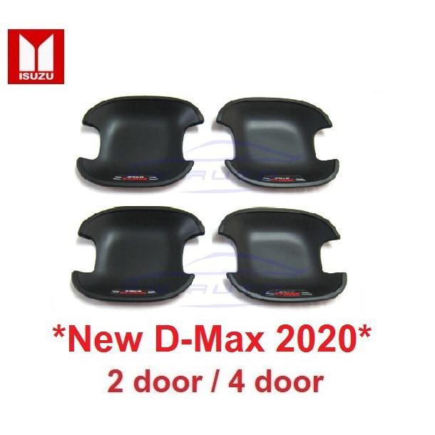Isuzu All D-Max 2020 (4ชิ้น) ถ้วย/เบ้า อีซูซุ ดีแม็กซ์ สีดำ โลโก้แดง เบ้ากันรอย ถาดรองมือเปิดประตู เบ้ามือจับ
