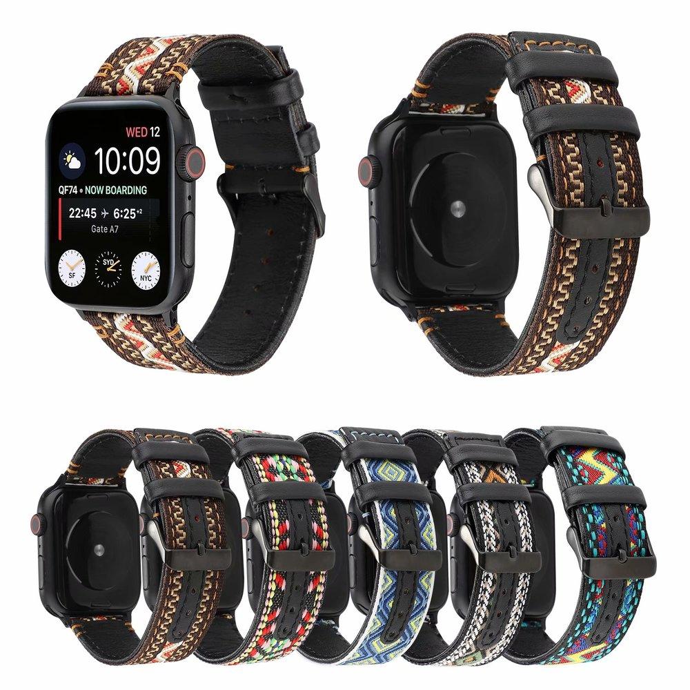 ( Apple Watch Band ) สายนาฬิกาไนล่อน + หนังวัวแท้สําหรับ Apple Watch Series Se / 6 / 5 Series 4 Series 3 / 2 / 1 Iwatch 38 มม . 42 มม . 44 มม .