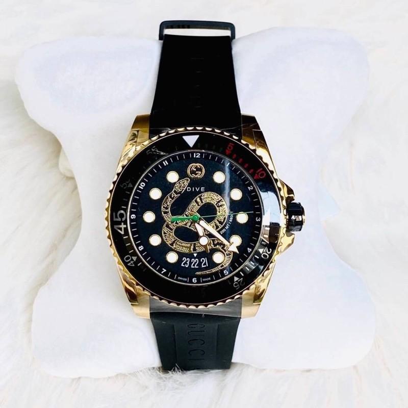 พร้อมส่ง   New gucci dive watch ปัดเสือ ทอง สายซิลิโคน  ปัด45mm อปก.ครบปกติ  มีประกัน   ราคา 62,500  (shop 86,900฿)