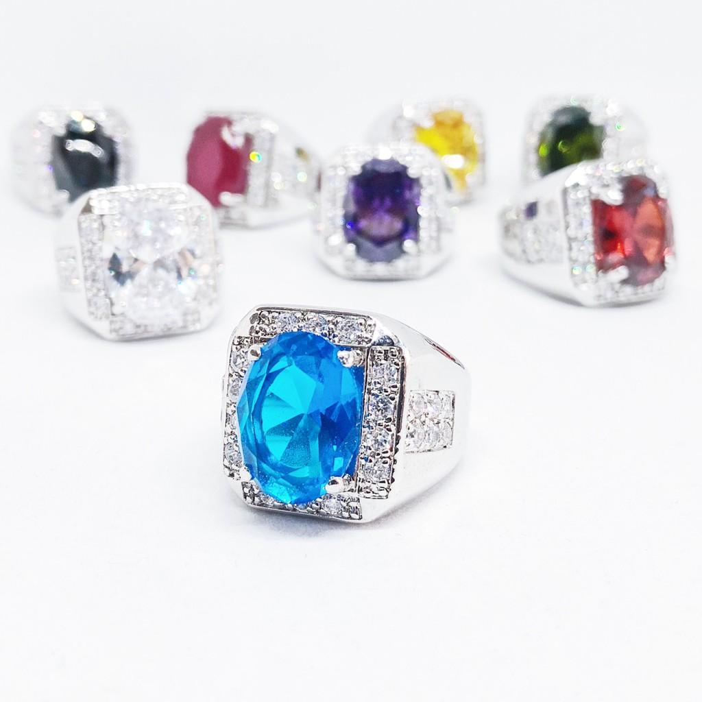แหวนผู้ชาย พลอยสีเสริมบารมี ประจำวันเกิด ล้อมเพชร cz กรอบเหลี่ยม ชุบทองคำขาว ราคาพิเศษ