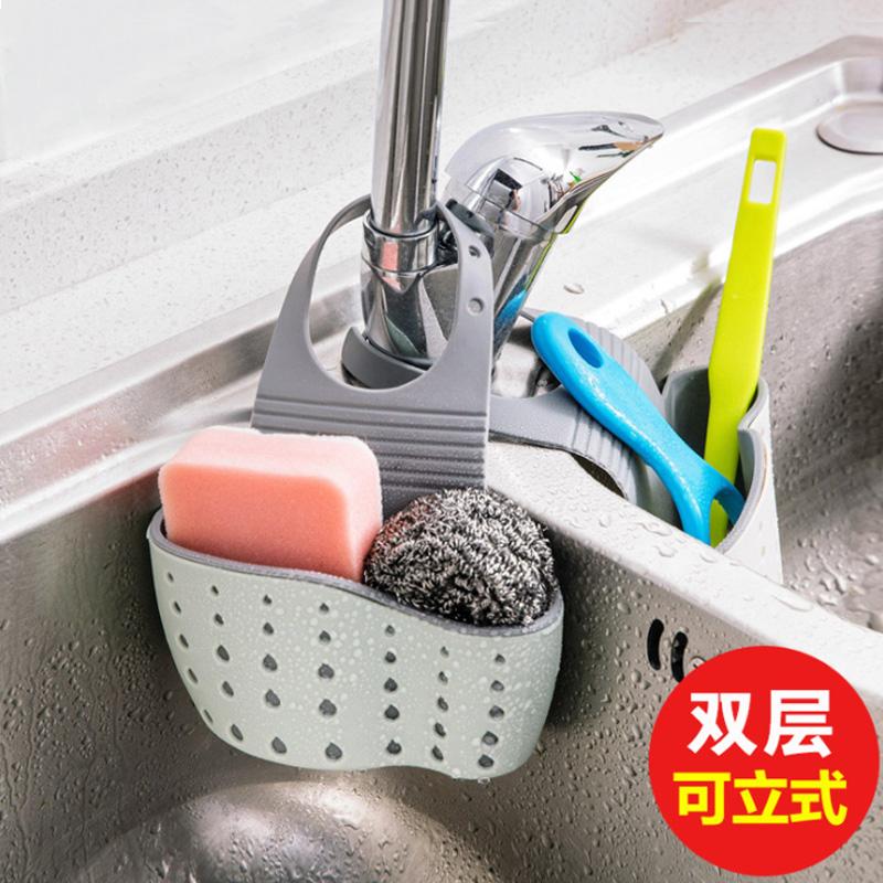 ที่เก็บของในห้องน้ำก๊อกน้ำอ่างครัวตะกร้ากระเป๋าน้ำยาล้างจานฟองน้ำตะกร้าเก็บของ