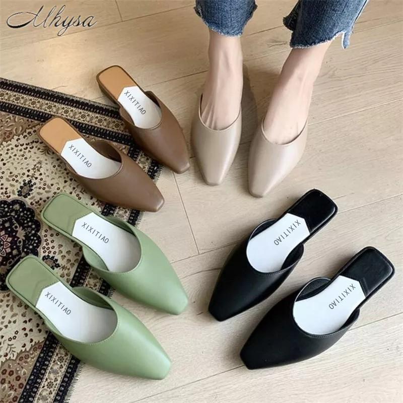 รองเท้าคัชชูผู้หญิง รองเท้าส้นปกติ รองเท้าแตะแฟชั่นผู้หญิง(ยางพารา)🎉สวยทุกสีเลยจ้า💐รองเท้าหัวแหลม