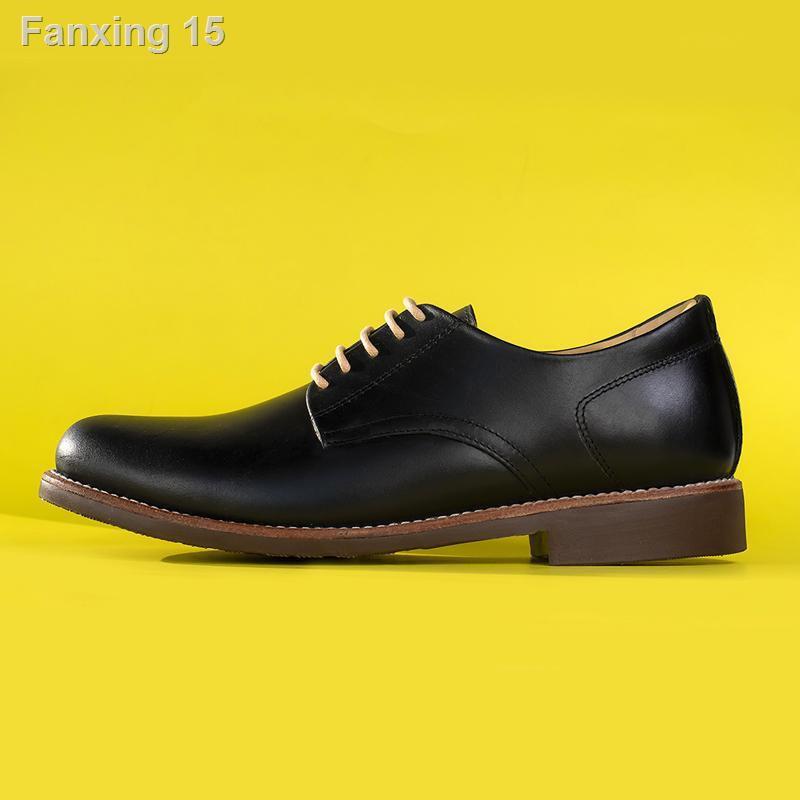 เตรียมส่งของ!☂StepPro รองเท้าหนังแท้คัชชูผู้ชายหุ้มส้นแบบเชือกหนังออยสีดำ Derby Shoes Code 911