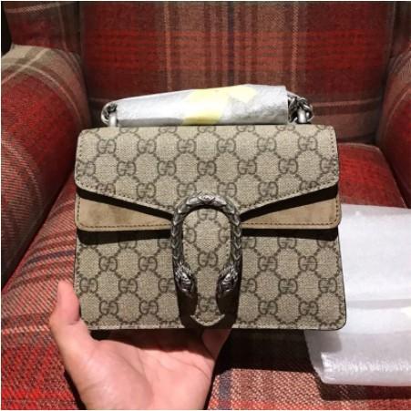 [VO]ซื้อของแท้ GUCCI กระเป๋ากุชชี่คลาสสิกคู่ G Dionysus กระเป๋าสะพายขนาดเล็กกระเป๋า Bacchus 20 * 15 ซม.