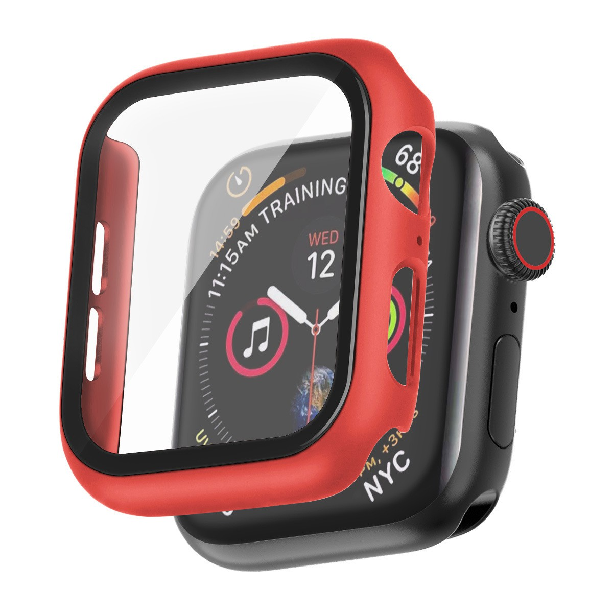 For Apple Watch Case + Tempered Glass 38mm 40mm 42mm 44mm Full Cover Silicone Case iWatch SE 2/3/4/5/6 Watch Frame ปก iWatch