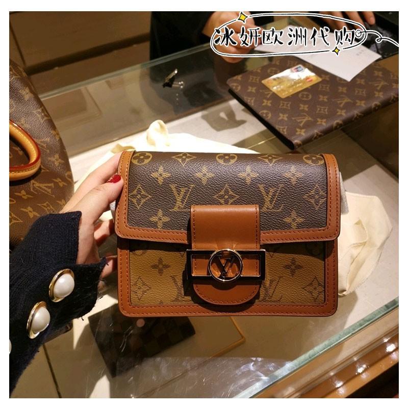 """""""≈ กระเป๋ากระเป๋าเดินทาง กระเป๋าผู้หญิง Lv Louis Vuitton Dauphine mini กระเป๋าสะพายข้างสายโซ่สะพายข้างกระเป๋าสะพายข้าง m"""