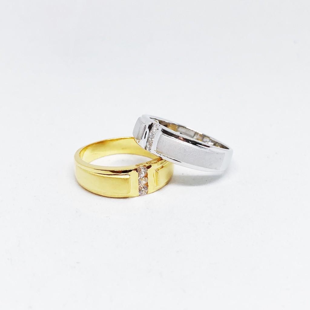 แหวนเพชร cz แถว ชุบทองไมครอน และซาติน ทองคำขาว ราคาพิเศษ