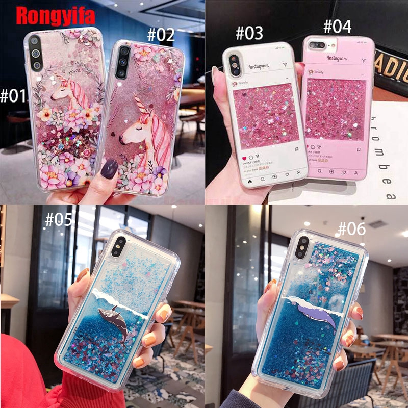 For Samsung Galaxy A8 A9 2018 A7 2017 A6 A6+ J6 Plus J2 Pro J2 Core case Quicksand Unicorn Liquid Flower Bling