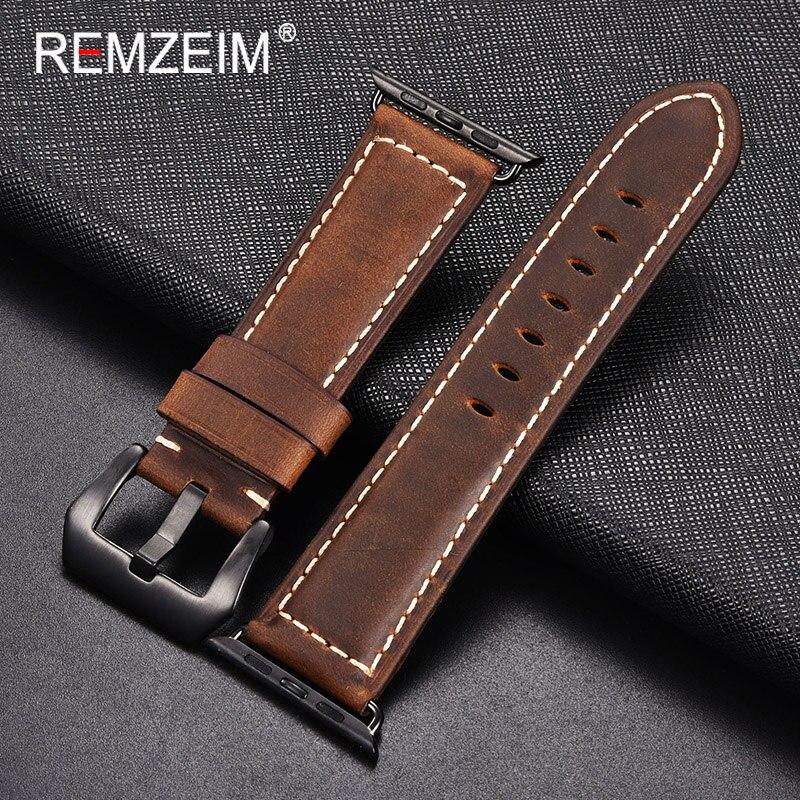 Remzeim nut Handmade Horse Leather Strap Apple watch series 1 / 2 / 3 42mm strap 38mm Iwatch Series 5 4 40 44mm