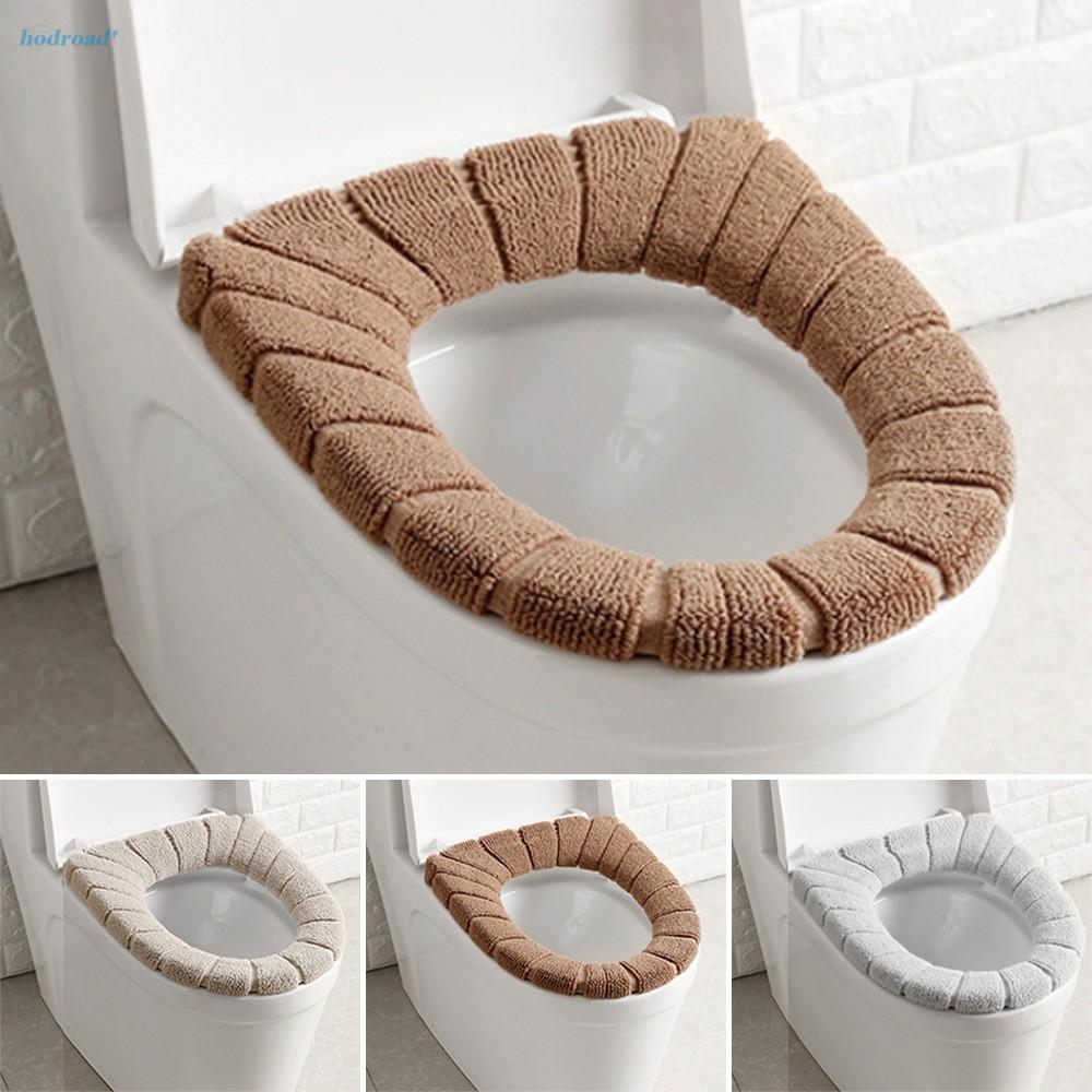 Beige Bathroom Toilet Seat Cushion Closestool Washable Soft Warm Mat Cover Pad