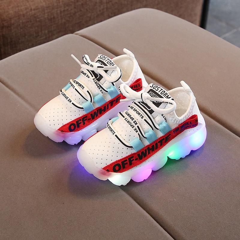 รองเท้าเด็กไฟ LED เด็กชายและเด็กหญิงรองเท้าเรืองแสงมะ