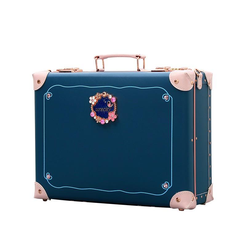 กระเป๋าเครื่องสำอางค์พกพา  ฮัน RONA ย้อนยุคกระเป๋าเดินทางกระเป๋าหนังหญิงมินิขนาดเล็ก12นิ้ว16นิ้ว20กรณีแต่งหน้ากระเป๋าเคร