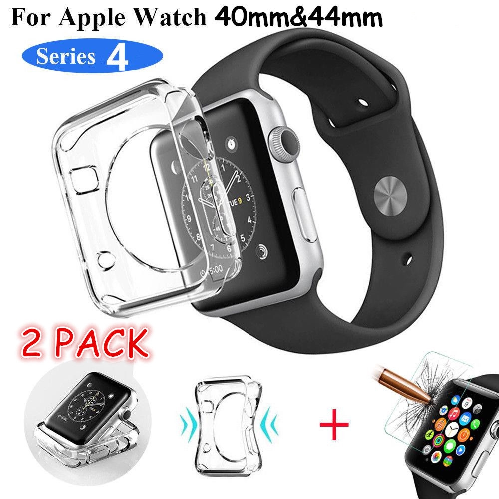 iWatch 40/44MM Apple Watch Series 4 Clear TPU Case Full Cover Screen Protector+Not Full Plastic Glass protector