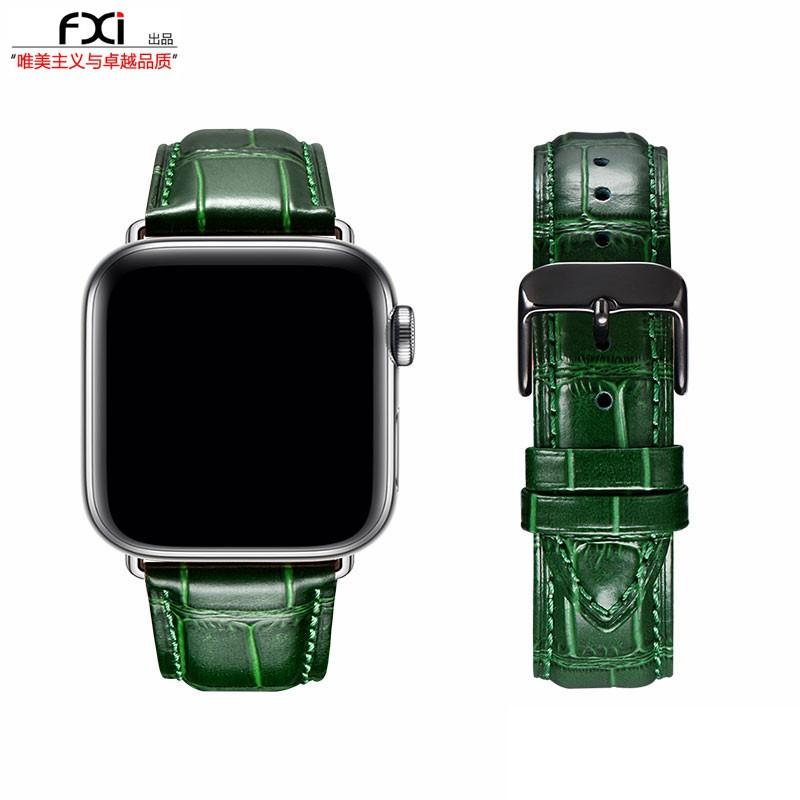 applewatch6 เข็มขัด❂fxi ลายจระเข้สีเขียวสาย apple สาย applewatch น้ำ iwatch65432 สายนาฬิกา iwatch หนังหญิงและชายหนังชั้