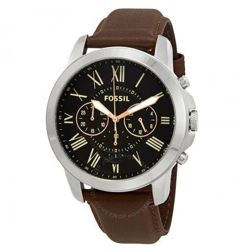 FOSSIL FS4813 Black Dial Brown Leather Men's Watch ฟอสซิล นาฬิกา ...