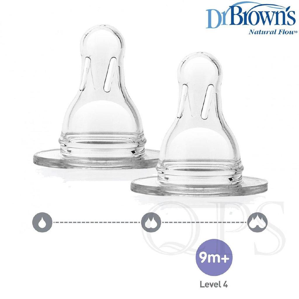 Brown`s Natural Flow Level 3 Wide Neck Nipple Dr 4 Nipples