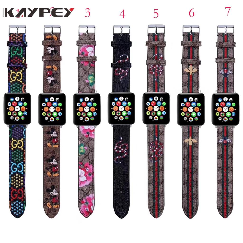สายนาฬิกาข้อมือหนังลายมิกกี้เมาส์ 7 แบบสําหรับ Apple Watch Series Iwatch 1/2/3/4/5/6/se Band 44 มม. 38 มม. 40 มม. 42 มม.