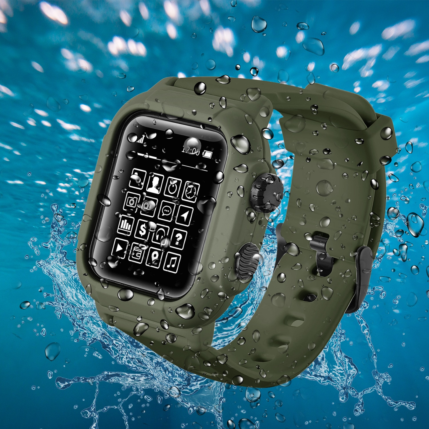 IP68 Waterproof Silicone Case Cover with Sport Band Strap For iwatch Apple Watch Series 6 5 4 3 2 42mm 44mm 44 42 mm Acc