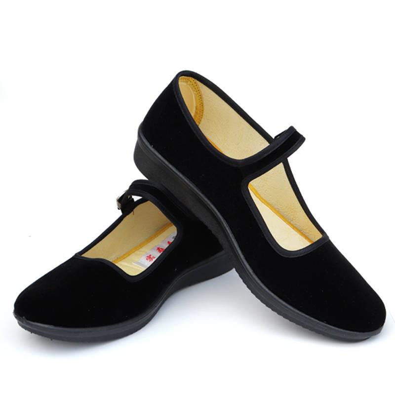 รองเท้าคัชชู รองเท้าผู้หญิง ร้องเท้า ♢ของแท้จริงคนเก่าปักกิ่งผ้ารองเท้าผู้หญิงรองเท้าเดียวสีดำรองเท้าทำงานรองเท้าแบนป้อง