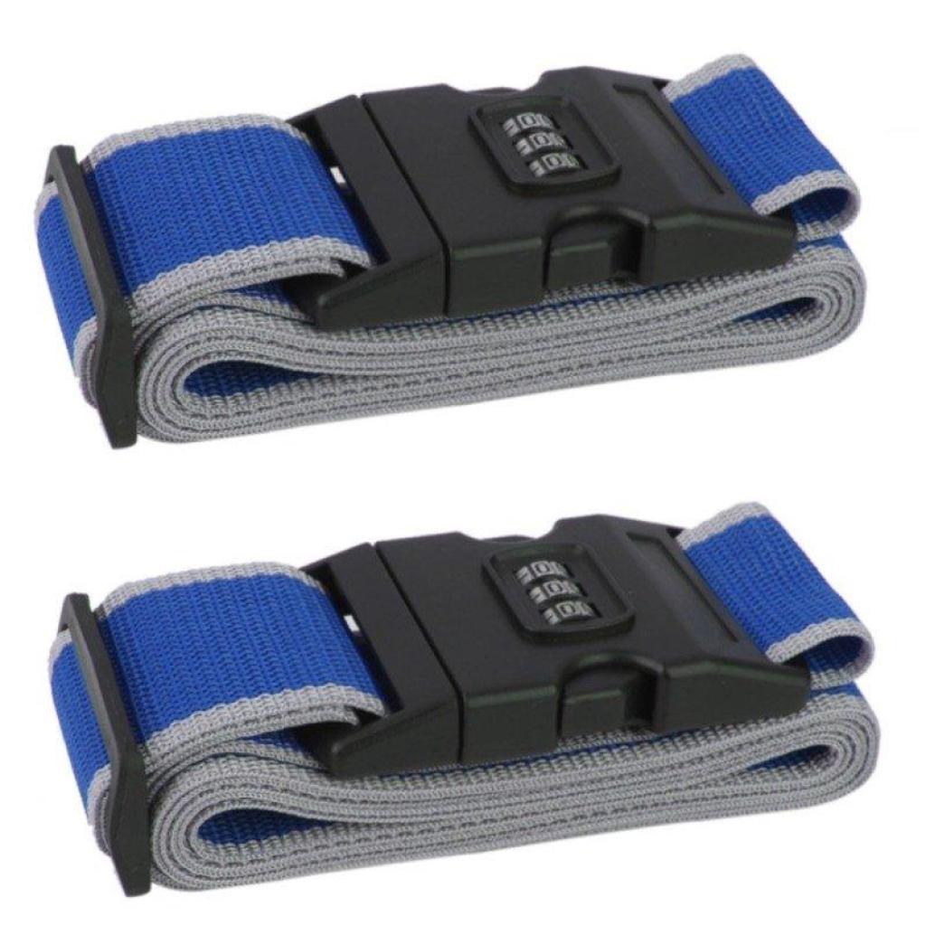 TravelGear24 สายรัดกระเป๋าเดินทาง 2อันพร้อมรหัสล็อก Travel Luggage Belt Suitcase Strap (Black/สีดำ) - Y0300ravelGear24 ส