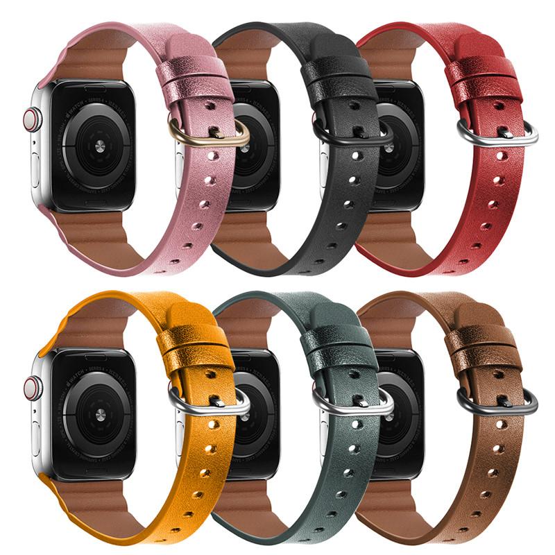( Apple Watch Strap ) สายนาฬิกาข้อมือหนังวัวแท้สําหรับ Apple Watch Series 6 / Se / 5 / 4 / 3 / 2 / 1 Design