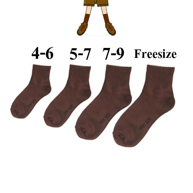 isocks ถุงเท้านักเรียน ผ้าเกรด A สีขาวพื้นเทา สีขาวล้วน สีน้ำตาล ข้อกลาง***สั่งซื้อได้ไม่อั้น