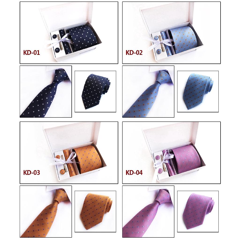 Mens Tie Set Dress Silk Tie Cufflinks Hanky Tie Clip Gift Box Purple Pattern New