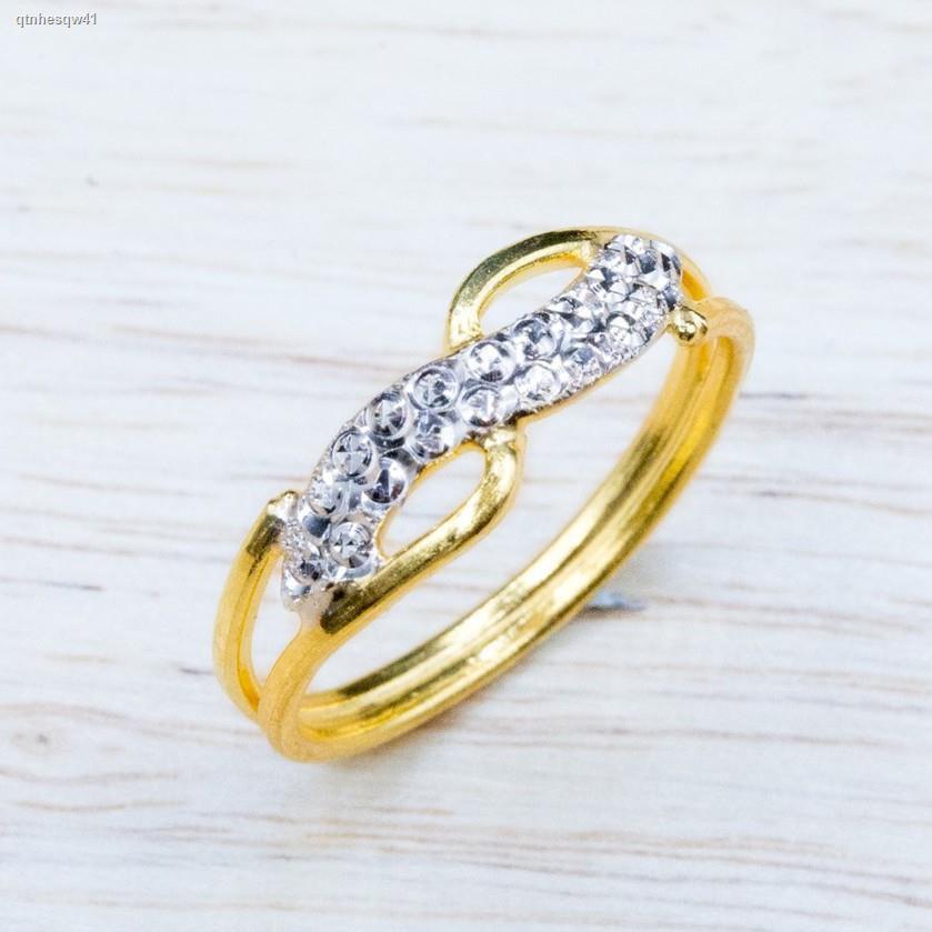 ราคาต่ำสุด✽ↂ⭐️ แหวนทองลวดลายอินฟินิตี้เกลียวชุบสีน้ำหนักครึ่งสลึง