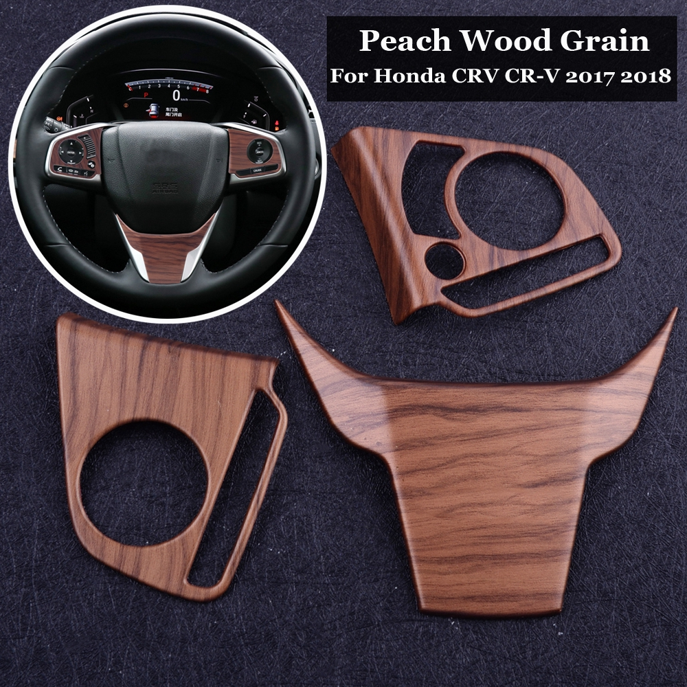 Akozon Car Air Outlet Frame Cover Trim 2 pcs Car Peach Wood Grain for Honda CRV 2017