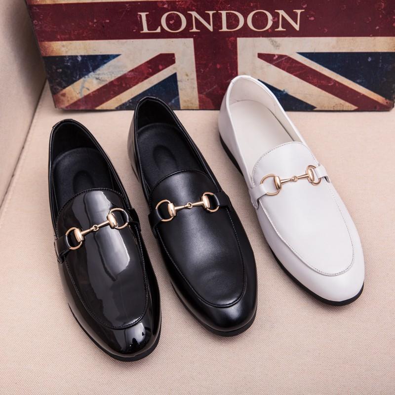 รองเท้าผู้ชาย size38~44 รองเท้าหนังแบบสวม รองเท้าหนัง รองเท้าคัชชูสีดำ รองเท้าผู้ชาย slip ons เพิ่มความสูง