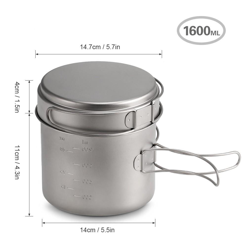 Portable Camping Cook Cooking Cookware Set Ultra Light Titanium Pots Pans Kettle