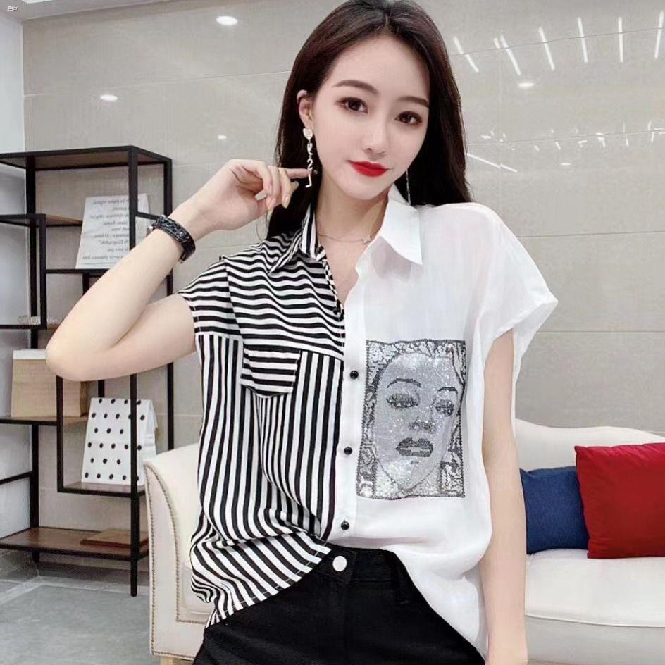 cro top Summer New Korean-Style Fashion -Style Short-Sleeve Color Block Shirt Women's