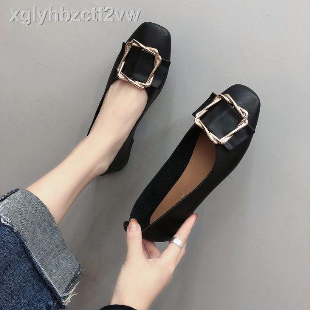 แฟชั่น✺รองเท้าผู้หญิงรองเท้าคัชชูรองเท้าส้นสูงส้นเตี้ย H22 รองเท้าคัดระดับชูรองเท้าคัทชูหนังหญิงส้นสูงส้นเท้าดำรองเท้าร
