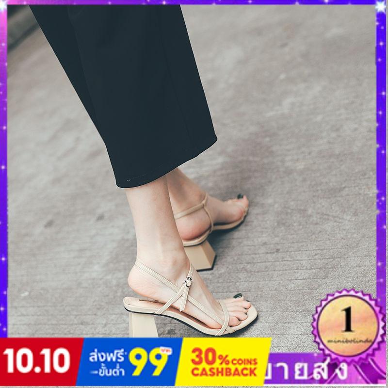 ⭐👠รองเท้าส้นสูง หัวแหลม ส้นเข็ม ใส่สบาย New Fshion รองเท้าคัชชูหัวแหลม  รองเท้าแฟชั่นDOMSโรมันรองเท้าแตะผู้หญิงสไตล์ใหม่