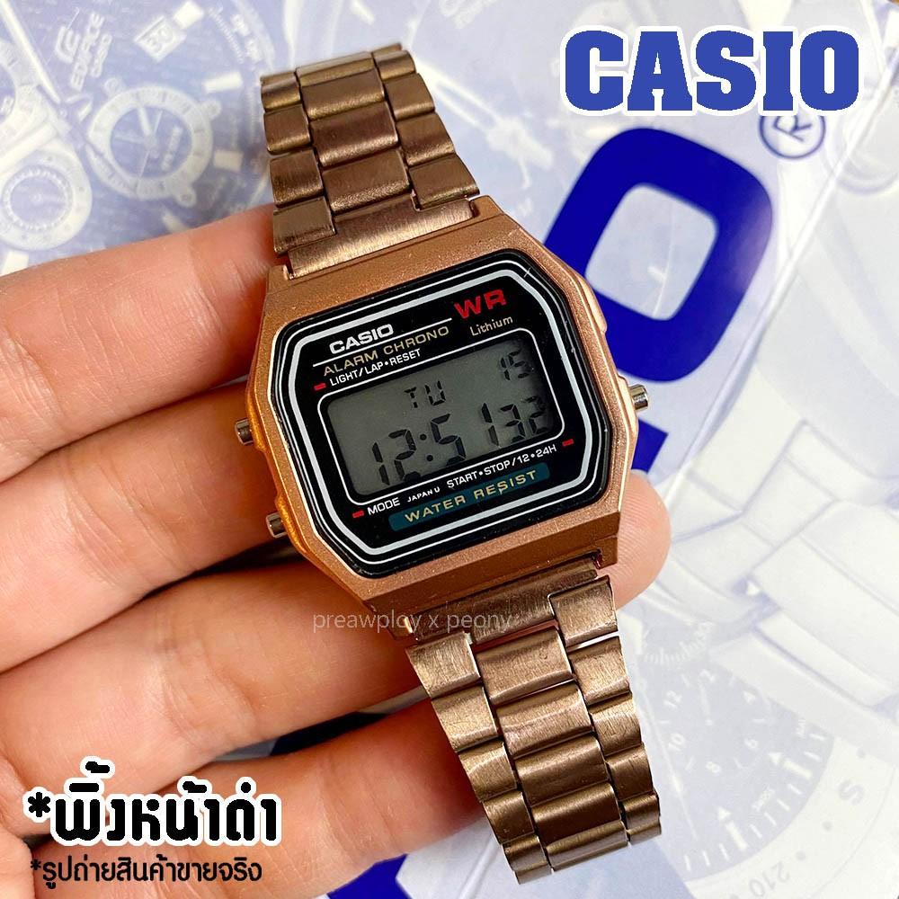 ㍿﹍นาฬิกา casio  F-91 สายสแตนเลส คาสิโอสายสีทอง พิ้งค์โกล์ด ดำ เงิน สายเรซิ่น
