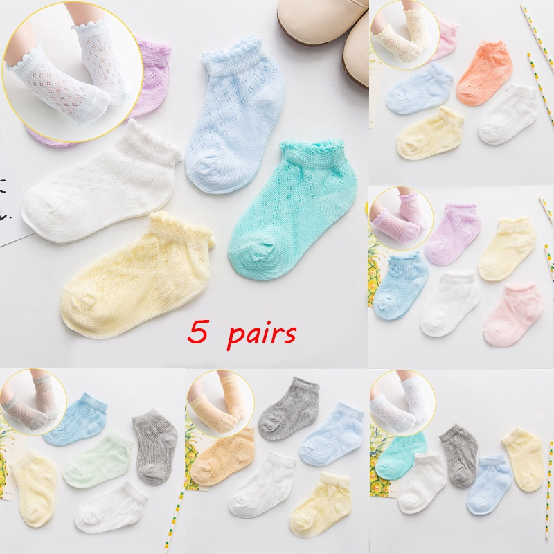Cute 5pairs//set Boys Girls Anti-slip Cotton Baby Socks Cartoon Toddler Infant