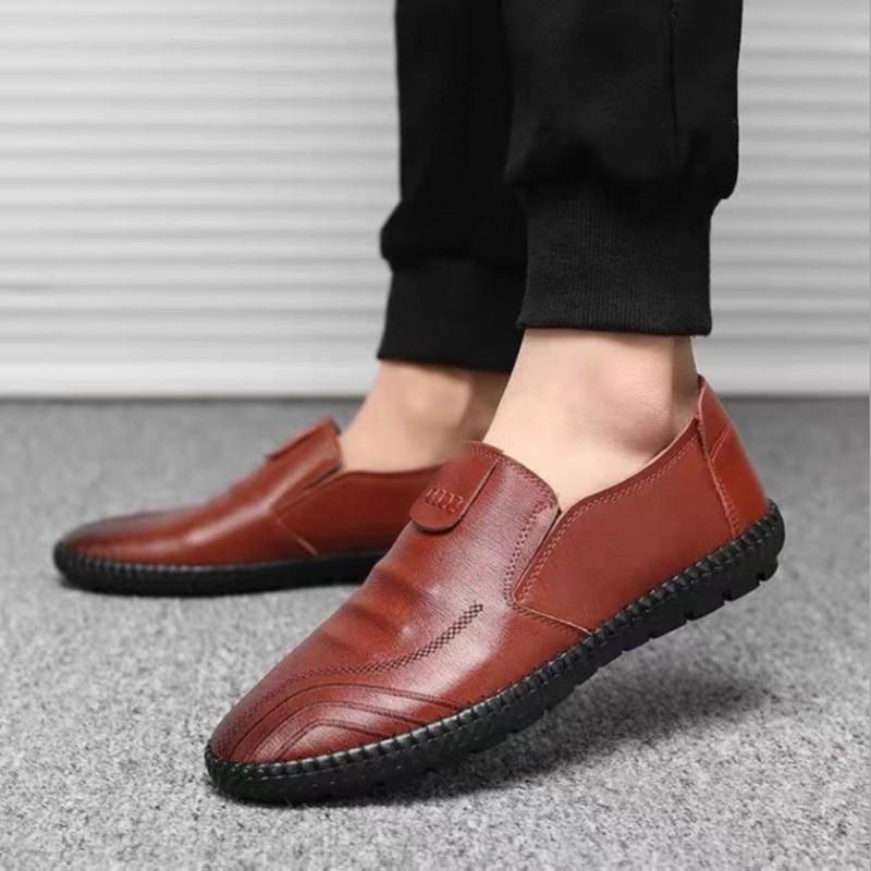 ❀Beauty shoes รองเท้าไม่มีส้นของผู้ชายรองเท้าคัชชูชายรองเท้าหนังชายรองเท้าคัชชู ผช