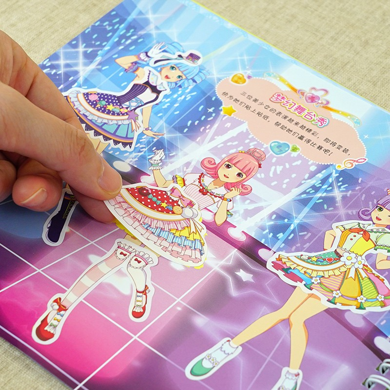 ◊┋[สินค้าใหม่ขายดี] Philippine dream girl I am a designer 4 books 3-6-8 year old princess dress-up stickers diy handma