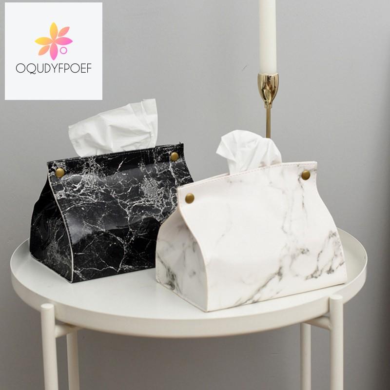 กล่องกระดาษทิชชู่หนัง PU ลายหินอ่อน croL