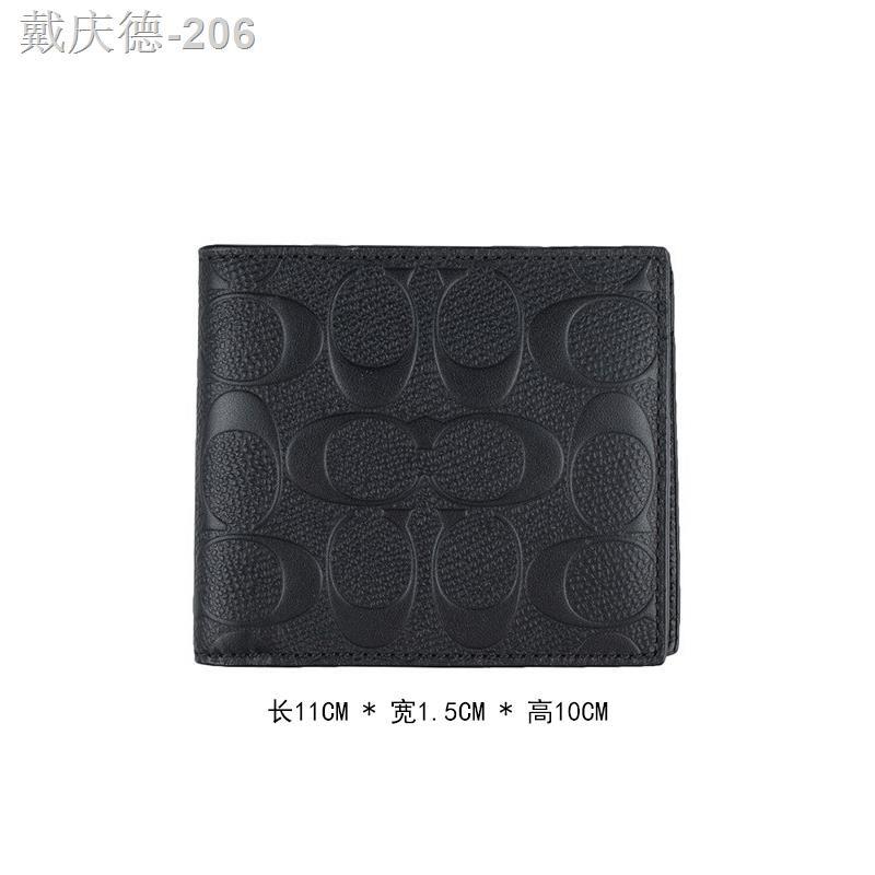 COACH/Coach กระเป๋าสตางค์ใบสั้นแบบพับครึ่งลำลองสำหรับผู้ชายรุ่นใหม่ 75363 BLK