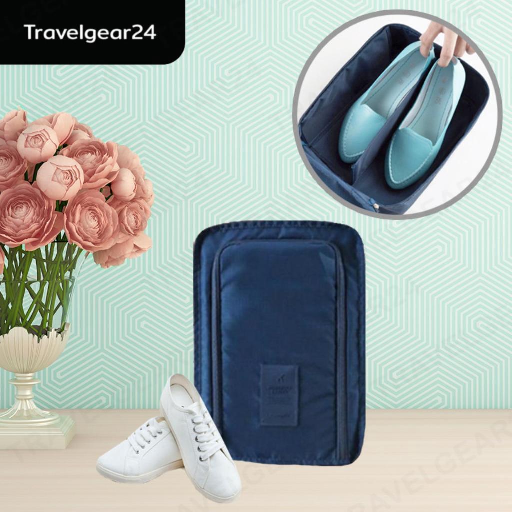 Travelgear24 กระเป๋ารองเท้า กระเป๋าจัดระเบียบ กระเป๋าใส่รองเท้า สำหรับเดินทาง พกพาสะดวก (Navy/สีน้ำเงิน) - A0133ravelgea