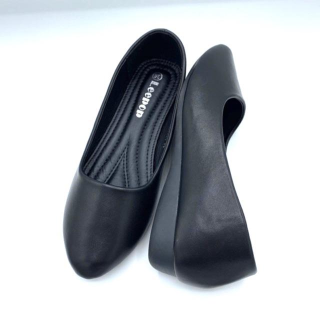 Leepop ลีป๊อป รองเท้าคัชชูไม่มีส้นหัวแหลมสำหรับนักศึกษา/ทำงาน สีดำ ไซส์ 36-40 สินค้าพร้อมส่ง!