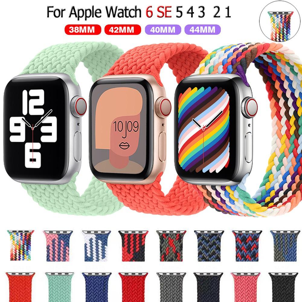 1:1 braided fabric สายนาฬิกาไนล่อน Apple Watch 6 44 มม 40มม 38 มม 42 มม iwatch series 6 se 5 4 3 2 1 สาย applewatch mCWZ