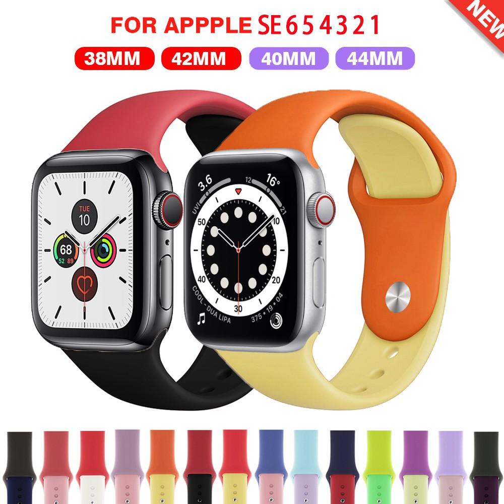 【ตามเรามา฿ 10】สายนาฬิกาข้อมือซิลิโคนสำหรับ Apple Watch Series SE 6 5 4 3 2 1 38 มม 42 มม 44 มม 40 มม สาย applewatch